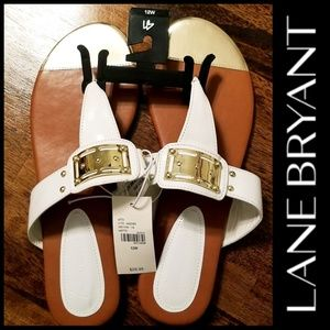 New- Lane Bryant White with Gold Sandals